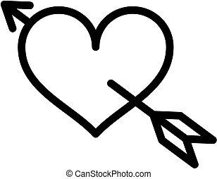 szív, ámor, nyílvesszö icon