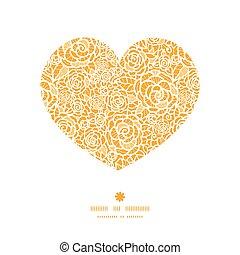 szív, árnykép, befűz, arany-, motívum, keret, agancsrózsák, vektor