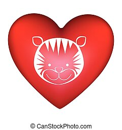 szív, árnykép, csinos, arc, tiger, alakít, állat, piros
