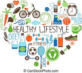 szív, életmód, diéta, aláír, állóképesség, egészséges