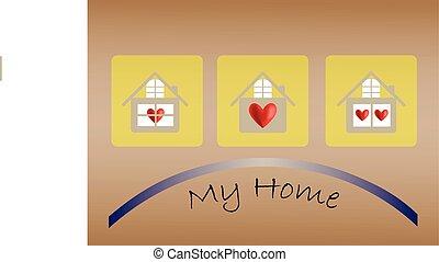 szív, épület, vektor, ikon