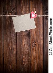 szív, ív, ruhaszárító kötél, aga, dolgozat, függő, kicsi, öreg