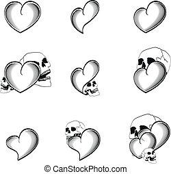 szív, 4, koponya, tetovál