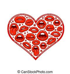 szív, ajkak, piros, forma