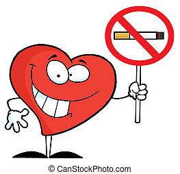 szív, aláír, hatalom, dohányozni tilos