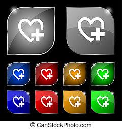 szív, aláír, icon., állhatatos, buttons., orvosi, jelkép., színpompás, kereszt