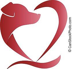 szív alakzat, kutya, jel