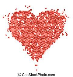 szív alakzat, tervezés, piros, -e, mózesi