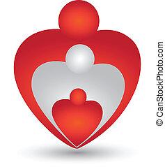 szív alakzat, vektor, család, jel