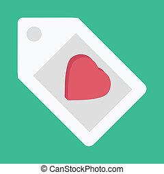 szív alakzat, vektor, ikon, címke