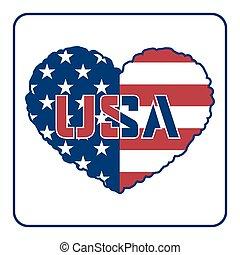 szív, american lobogó
