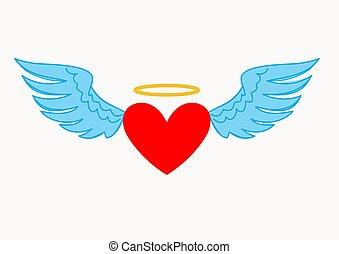 szív, angyal, elszigetelt, ábra, háttér., fehér, kasfogó