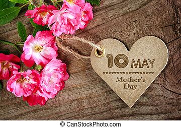 szív, anyák, lehet, alakú, agancsrózsák, 10, nap, kártya