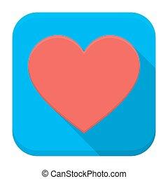 szív, app, árnyék, hosszú, ikon