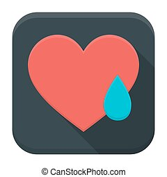 szív, app, hosszú, kiáltás, árnyék, ikon