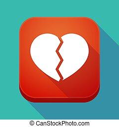 szív, app, hosszú, törött, árnyék, ikon