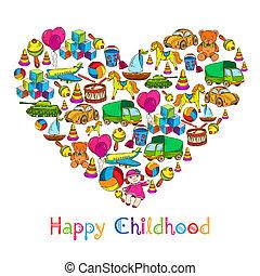 szív, apró, gyermekkor, boldog