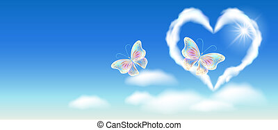 szív, arany-, díszítés, ég, képzelet, pillangók, felhő