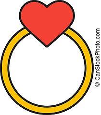 szív, arany, esküvő, ikon, karika, szín