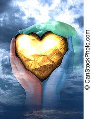 szív, arany, kézbesít