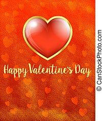 szív, arany, valentines, -, kedves, nap, háttér, kártya, boldog