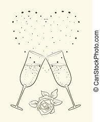 szív, backg, pezsgő, rózsa