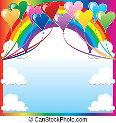 szív, balloon, háttér