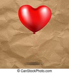 szív, balloon, kartonpapír, piros háttér