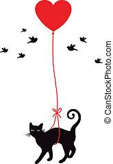 szív, balloon, macska