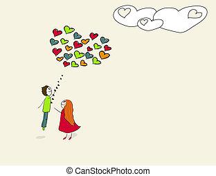 szív, balloon., menekülés, alakú