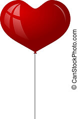 szív, balloon, piros, forma