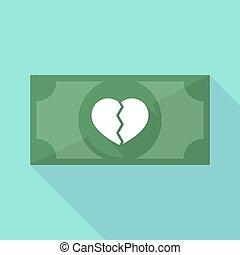 szív, bankjegy, hosszú, törött, árnyék, ikon