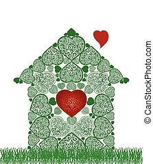 szív, belsőrész., vektor, ábra, épület, zöld, jelkép
