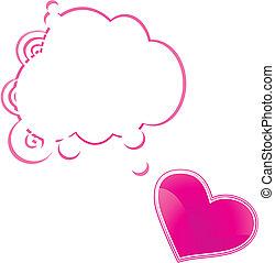 szív, beszéd, kártya, buborék