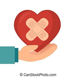 szív, bevakol, befolyás, kéz
