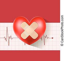 szív, bevakol, kardiogram