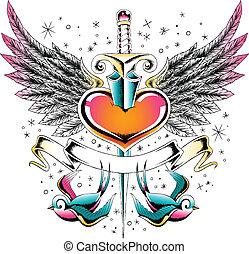 szív, bevesz, embléma, szárny