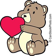 szív, birtok, hord, teddy-mackó