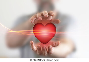 szív, birtok, piros, kézbesít