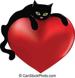 szív, black macska