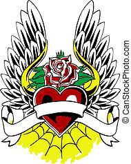 szív, címertani, embléma, szárny, tetovál