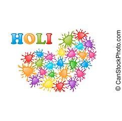 szív, c-hang, színes, forma, fesztivál, loccsan, festék, indiai, holi