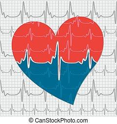 szív, cardiogram.