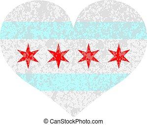 szív, chicago, struktúra, lobogó, ábra, város