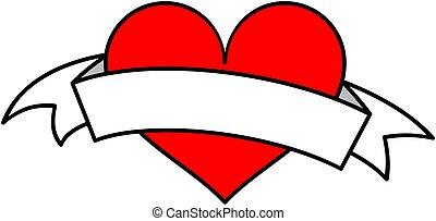 szív, clipart., vektor, piros white, szalag, illustration.