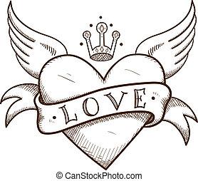 szív, crown., transzparens