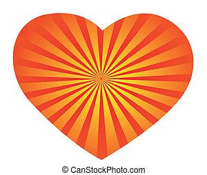 szív, csíkos, yellow-red