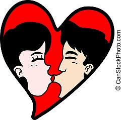 szív, csókol