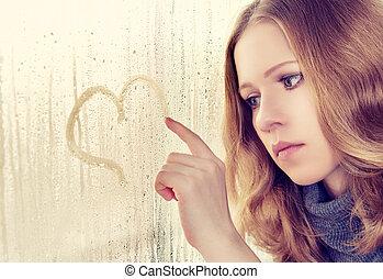 szív, csalogat, eső, bús, ablak, leány