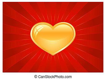 szív, csillogó szétrobbant, piros, arany-